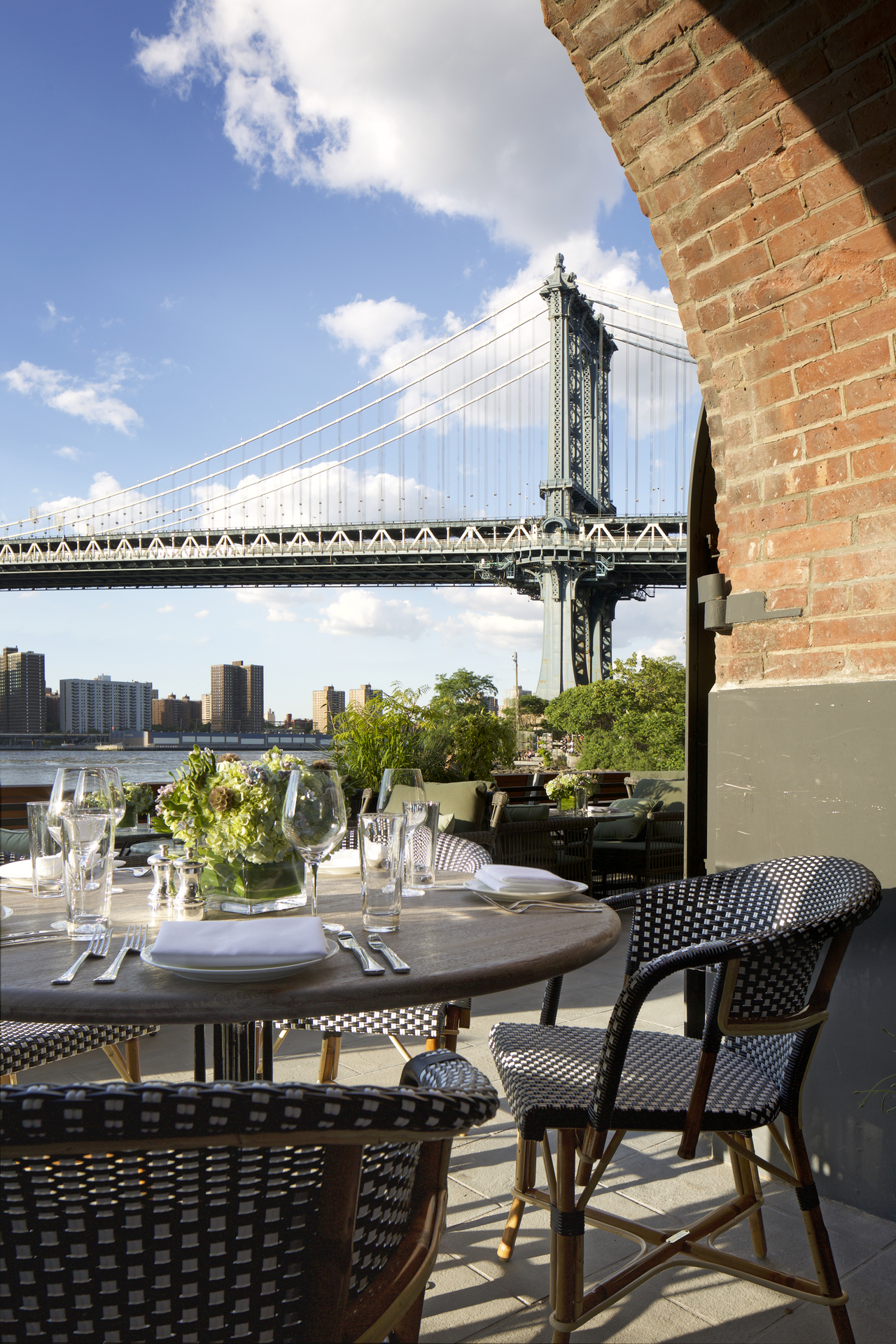 A view of Brooklyn Bridge from the outdoor terrace